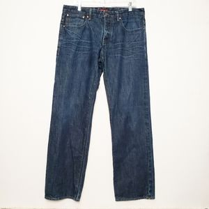 Ted Baker Meduim Wash Button Fly Straigh Jeans